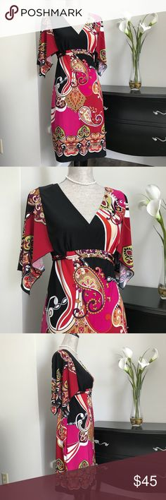 "Saint Tropez West Paisley Dress Saint Tropez West 70s Inspired Dress with Multi- colored paisley print.  95% polyester 5% spandex Approx length 37"".  EUC Saint Tropez West Dresses"