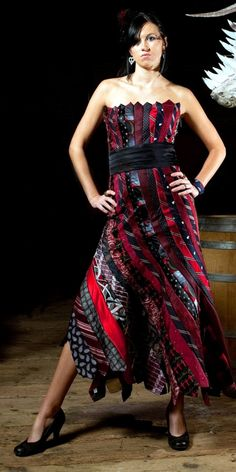 Glamarita Tie Me Up Tie Me Down Scientifically Recommended Necktie Ballgown in Red and Black