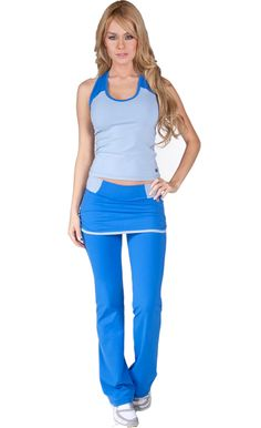 Loving the skirt/pant combo on this outfit! Tiempo Libre Activewear Tank Top 6167 and Pants 7167 $124