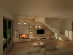 17 Ideas Living Room Layout With Stairs Ceilings Flooring For Stairs, Interior Stairs, Living Room With Fireplace, Elegant Homes, Home And Living, Living Room Designs, House Plans, Sweet Home, New Homes