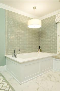 white & aqua bathroom. subway tile. love the tub surround. marble floors. Sea Green Bathrooms, Aqua Bathroom, Bathroom Renos, Bathroom Flooring, Bathroom Renovations, Bathroom Laundry, Tiny Bathrooms, Family Bathroom, Master Bathroom