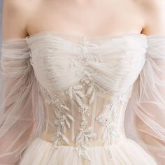 Audrey Hepburn Style Champagne Wedding Dresses 2019 A-Line / Princess Off-The-Shoulder Beading Sequins Pearl Lace Flower Sleeve Backless Royal Train Audrey Hepburn Stil Champagner [. Lace Wedding Dress, Wedding Bridesmaid Dresses, Dream Wedding Dresses, Wedding Gowns, Prom Dresses, Backless Wedding, Event Dresses, Dress Lace, Delicate Wedding Dress