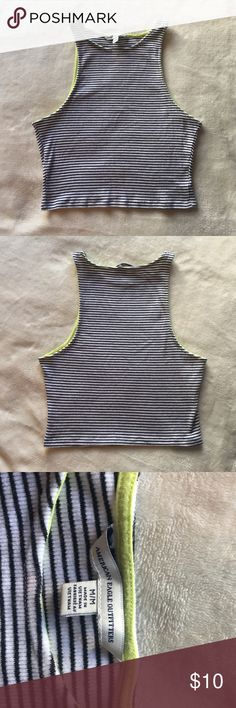 American Eagle Crop Top Black and white stripped Crop Top from American Eagle with lime green detailing, rarely worn and in good condition, size: medium American Eagle Outfitters Tops Crop Tops