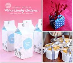 cute!  mini candy cartons, good idea for weddings or birthday parties!