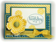 257- PENNY TOKENS STAMPIN SPOT Beautiful vibrant birthday card by Cindy Elam of heartsdelightcards.blogspot.com