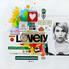 Amazing layout using stickers and mist sprays. Creative Hobby Supplies stocks paints and mists here - www.creativehobby...