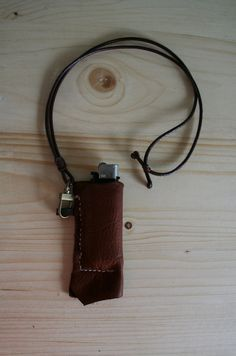 Raw Edge Leather Lighter Case / Vintage Lighter by MudlandLeather