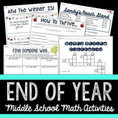 End of Year Math Activities for Middle SchoolThis bundle contains 14 end of year activities for students (and teachers!) in the middle school math classroom. Included Activities:* Find The Math Terms - Math terms word search* Multiply By - Students create multiplication sentences with specific products* Just Roll With It - Use dice to come up with math problems.* Let's Take a Trip - Two page trip planning worksheet that covers addition, multiplication, division and percents* Geometric…
