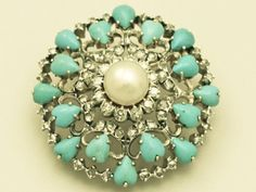 1.36 ct Diamond, Pearl, Turquoise, 18 ct Yellow Gold Brooch - Antique Victorian