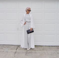 Hijab + Windowpane Check + High-Waisted Pants (sallyomo)