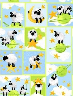 LEWE the EWE SHEEP  100 Cotton Fabric  Sheep by JustForFun on Etsy, $5.00