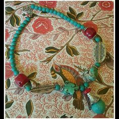 "I just discovered this while shopping on Poshmark: Eclectic Turquoise Coral Southwest Necklace. Check it out! Price: $24 Size: 21"", listed by pixxiestiixx"
