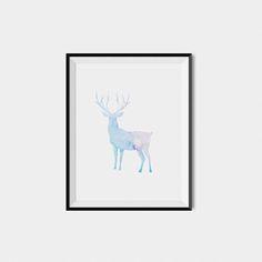 Deer watercolor nursery print deer watercolor wall art