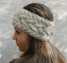 Headband Ear Warmer Womens Cable Knit Headband Wool by KnitsbyVara, $23.00
