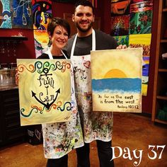 """""""Day 37 - early Valentine's Day date.  Dinner and painting!  We had fun."""""""