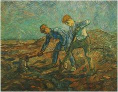 Two Peasants Digging (after Millet)  Painting, Oil on Canvas  Saint-Rémy: October, 1889  Stedelijk Museum  Amsterdam