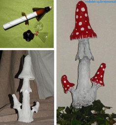 Mushrooms in the garden! Cement Art, Cement Crafts, Diy Garden Projects, Garden Crafts, Mushroom Crafts, Rock Garden Design, Fairy Garden Furniture, Fairy Crafts, Miniature Crafts