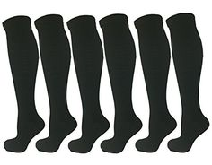 6 Pair Black LargeXLarge Ladies Compression Socks ModerateMedium Compression 1520 mmHg Therapeutic Occupational Travel  Flight KneeHigh Socks Womens Shoe Sizes 1014 Mens Sizes 913 >>> Read more at the image link.