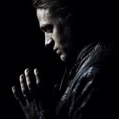 Charlie Hunnam as Jax Teller in Sons of Anarchy, final season.