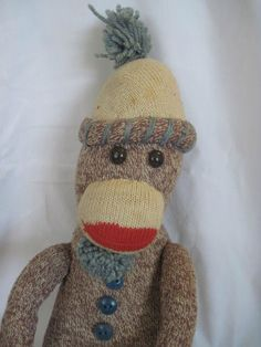 vintage sock monkey So cute - but WHERE ARE HIS EARS??!
