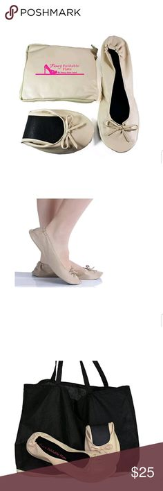 Foldable Ballet Flats Size Small 5/6.5 Cream Brand new. These flats are lightweight and flexible.  Made of man made leather. No pinching.  Comes with a expandable tote bag. Size 5 to 6.5 Fancy Shoe Land Shoes Flats & Loafers