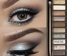 Glamorous silver smokey eye using Urban Decay Naked 2 palette. Great for prom or other formal occasions! Glamorous silver smokey eye using Urban Decay Naked 2 palette. Great for prom or other formal occasions! Kiss Makeup, Love Makeup, Makeup Tips, Makeup Looks, Hair Makeup, Makeup Ideas, Makeup Tutorials, Awesome Makeup, Makeup Basics