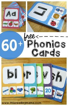 Over 60 FREE Phonics Cards for beginning sounds, vowel sounds, blends, digraphs and MORE!