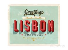 Vintage Touristic Greeting Card - Lisbon, Portugal Poster von Real Callahan bei AllPosters.de
