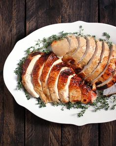 Roasting a Turkey for Two - Roasted Turkey Breast with an Apple Cider Brine | SoupAddict.com - a small Thanksgiving dinner party is perfectly suited for a roasted whole bone-in turkey breast. Brined in a rich apple cider solution and basted in butter, a golden, roasted turkey breast will be the centerpiece of your celebration.
