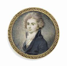 CHRISTOPHE GUERIN (FRENCH, 1758-1831)  A young gentleman, in blue-green coat, embroidered waistcoat, white knotted cravat, powdered hair  on ivory  2 7/16 in. (62 mm.) diam., gilt-metal mount with stamped foliate border  inscribed in pen on the reverse '[...]refoi M.r Werner p.r Strasbourg'