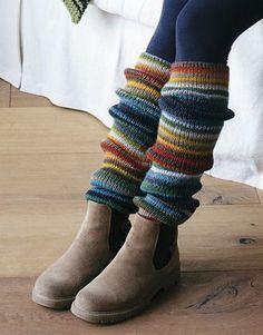 Book Beginners 5 Autumn / Winter   12: Woman Leg Warmers   Red-Yellow-Green-Grey-Beige