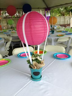 Up up and away. Graduation day. Hot air balloon centerpiece.