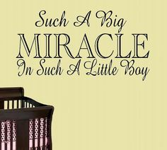 children wall decal quote Such a big miracle in such a little boy or girl