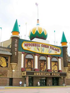 Mitchell Corn Palace is located in Mitchell, South Dakota, the outside of this large building is decorated entirely in murals and designs made from local corn (which is replaced each year!)--South Dakota was one of the three final of the contiguous 48 states that we have visited--visited Mitchell and its Corn Palace in 1994
