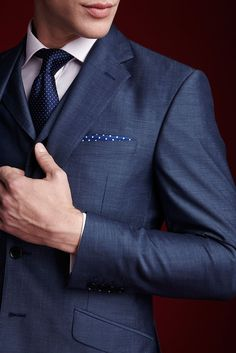 The details in this wool/mohair mix suit really do make it a cut above the rest.