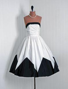 Party Dress, Candi Jones, California: 1950's, lightweight taffeta, asymmetric bodice ruching, color-blocked skirt.