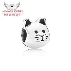 Animal Cats charms Sterling-silver-jewelry making charms Pet charm fit bead bracelet DIY 925 sterling silver fine jewelry MN691