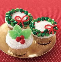 Christmas cupcakes decorated with candy