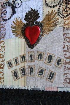 """3D mixed media beeswax collage on canvas-sold  """"Vintage Gypsy"""""""