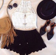 Shop ROMWE Hollow-out Lace Trim Black Hot Shorts at ROMWE, discover more fashion styles online. Boho Festival Fashion, Boho Fashion, Womens Fashion, Festival Style, Street Fashion, Fashion Trends, Rah Style, Beautiful Outfits, Cute Outfits