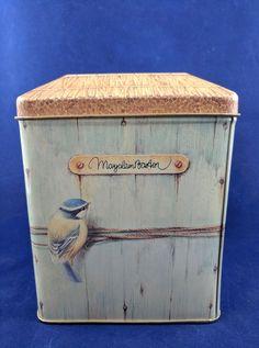 Hallmark Marjolein Bastin Blue Bird House Tin Container 1995
