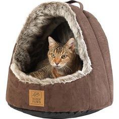 Gezien op beslist.nl: House of paws kattenmand iglo arctic fox suedine bruin