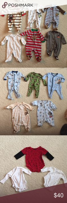 HUGE Baby Boy Set Bundle! Great pre-owned condition. Washed only, never dried. Set includes: 4 NB Warm Footie Pajamas, 5 Cotton NB Footie Pajamas, 2 0-3 Month Footie Pajamas (1 w/ matching hat), 2 cross body snap long sleeve bodysuits, 1 0-3 month long sleeve bodysuit, 2 pairs NB warm pants, 3 pairs of scratch mittens, 2 pairs of warm mittens, 1 pair warm booties & 5 burp cloths. Brands range from Carter's, Babies R Us, Little Me, Garanimals, Baby Soy, Zutano, and more Pajamas