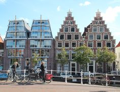 Haarlem the Netherlands architecture old and new go together. Beautiful city of Haarlem. The shopping city of the Netherlands.