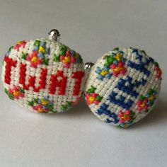 Rude Word Cuff Links - Embroidered in Cross Stitch with Floral detail