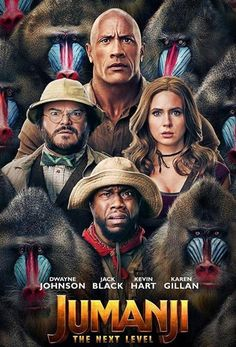 Official movie poster for Jumanji The Next Level featuring Dwayne Johnson. Scary Movies To Watch, Netflix Movies To Watch, Movies Worth Watching, New Movies, The Rock Dwayne Johnson, Dwayne The Rock, Jack Black, Action Comedy Movies, Madison Iseman