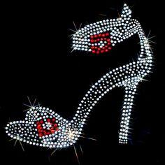 (ELEGANT SLIPPER (stones)) 7x7  - ELEGANT SLIPPER (stones) - elegant, elegant slipper, Rhinestone, slipper, Material Transfer, Fashion