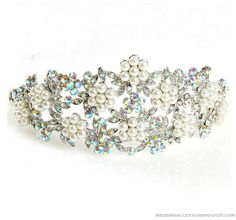 Silver Diamond Pearl Wedding Tiaras