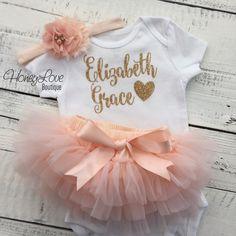 PERSONALIZED SET gold glitter shirt bodysuit, peach ruffle tutu skirt bloomers, flower rhinestone pearl headband, newborn baby girl take home hospital outfit