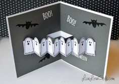 Watch as I create this easy and fun pop-up card for the Ellen Hutson 2015 Holiday release. See my site for photos and all the details: . To join a card-making community, see my community vid. Halloween Pop Up Cards, Theme Halloween, Halloween Projects, Kirigami, Fall Cards, Holiday Cards, Libros Pop-up, Pop Up Card Templates, Fantasias Halloween